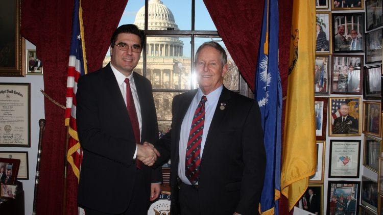 Среща на посланик Тихомир Стойчев с конгресмен Джо Уилсън, основател и съпредседател на Групата за приятелство с България в Конгреса на САЩ